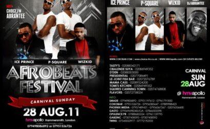 P-square, Wizkid, Iceprince & Basketmouth at London's Afrobeats festival 2011
