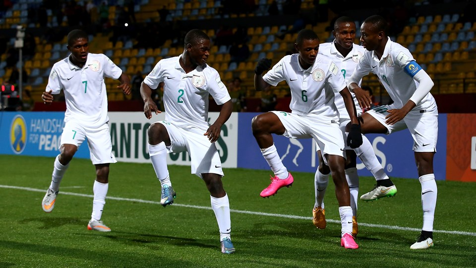 Kelechi Nwakali of Nigeria celebrate with his team mates after he scores the 2nd goal