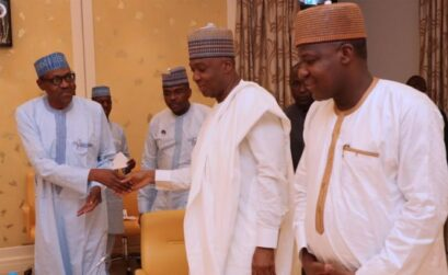 President of the Senate Dr. Bukola Saraki and the Speaker of the House of Representatives, Yakubu Dogara are currently meeting with President Muhammadu Buhari