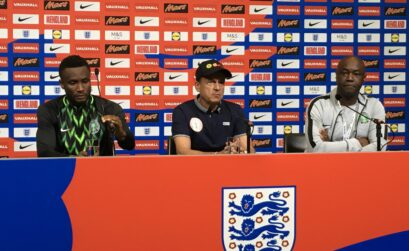 Nigeria's Super Eagles Coach Gernot Rohr and captain Mikel John Obi meet the press after the team's friendly match with England at the Wembley stadium in London.