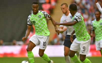 Nigeria's Super Eagles captain Mikel John in action during the team's friendly match with England at the Wembley stadium on Saturday.