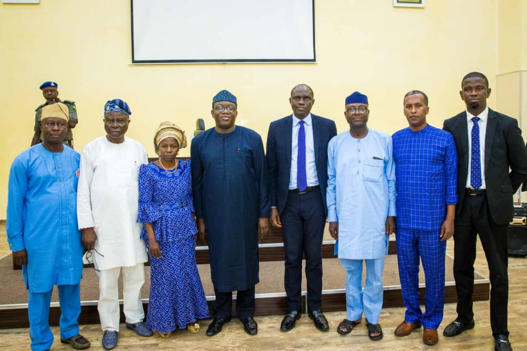 Governor Kayode Fayemi, Deputy Governor Otunba Bisi Egbeyemi and Ekiti State House of Assembly Speaker, Funminiyi Afuye posed with the members of the governing council of College of Agriculture and Technology, Isan Ekiti, during the council's inauguration on Friday. R-L: Dr. Tope Aroge; Nuradin Osman; Funminiyi Afuye, Babajide Arowosafe (Chairman Governing Council), Governor Kayode Fayemi, Prof. Simi Odeyinka; Otunba Bisi Egbeyemi and Ayo Aroge